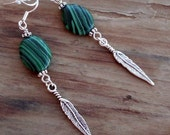 Green Malachite Oval Bead Earrings with Feather Charms on Sterling Silver Ear Wires