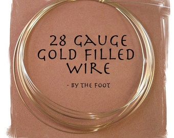 28 Gauge Gold Filled Wire, 14k Gold Filled Wire, Thin Gold Wire, By The Foot, Round, Half Hard Wire for Wire Wrapping Jewlery