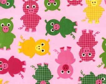 Urban Zoologie Pink Piggies in Bright by Ann Kelle for Robert Kaufman - 1 Yard