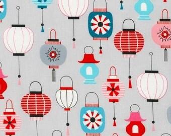 Kokeshi by Suzy Ultman, Lanterns in Sweet Grey from Robert Kaufman, yard