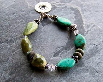 Turquoise Bracelet, Green Garnet Bracelet, Organic Bracelet, Rustic Jewelry,  Boho Chic, Boho Jewelry, Southwestern Jewelry