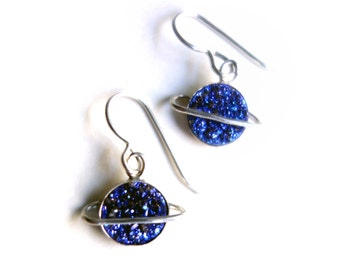 The Cosmos Collection- Drusy / druzy Saturn Dangles in Blue and Sterling Silver