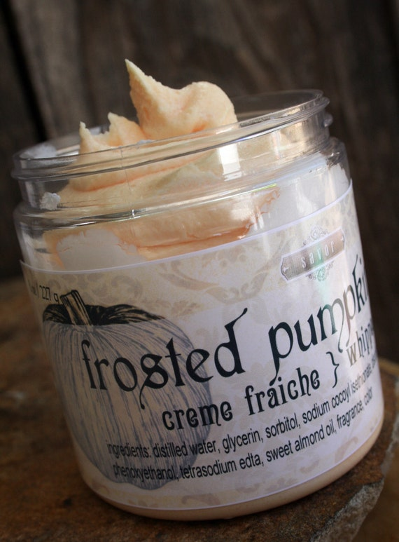 Frosted Pumpkin Spice  8 oz Creme Fraiche Whipped Soap VEGAN