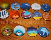 Pin Sets of Mike Boston original paintings on 1 inch handpressed pin