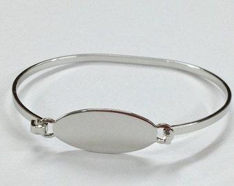 Bangle Bracelet Blanks - Silver Color OVAL Hinge Top Cuff Bangle Bracelet Blank Base MED/LARGE