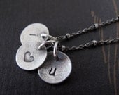 i love you necklace in sterling silver - small initial discs valentines day