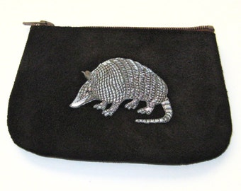 AWESOME ARMADILLO  Coin Purse on Black Leather Suede