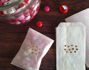 gold hearts glassine treat bags