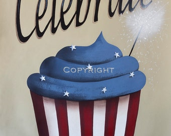 Cupcake Art Print Independence Day Celebrate the 4th of July