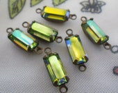 Swarovski Peridot AB Iridescent Green 10X5mm Baguette Vintage Glass Drops 6 Pcs