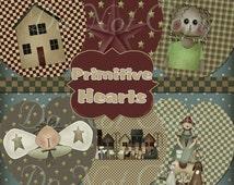Buy 1 Get 1 FREE Primitive Hearts Angel Saltbox Digital Clipart Instant DOWNLOAD