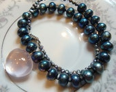 RESERVED for Marie H.  Silvery Rose Quartz and Blueberry Pearls