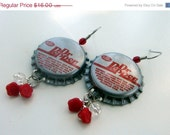 50% off sale Dr Pepper - Bottlecap Earrings