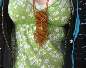 Bead woven Amulet Bag Necklace in Copper