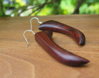 Wooden Talon Earrings - Wood - Dark Cocobolo -  Long Statement Claw - Natural History Woodworking - Tribal Beautiful Grain - Funky Boho Chic
