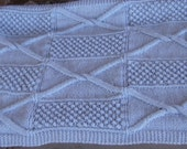 hand knitted original cross cable wild blackberry design baby blanket apx 21.5 x 26.5 acrylic