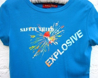 BIG DETONATORS in blue womens' Explosive Safety Third tshirt ladies safety 3rd tshirt turquoise explosive fire bomb Small to 3xl plus size