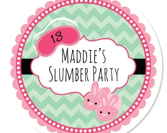 Personalized Stickers -- Slumber Party -- Personalized Label, Sleepover Sticker, Spa Birthday Favor Label -- Choice of Size