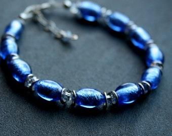 SALE sky blue murano glass bead bracelet
