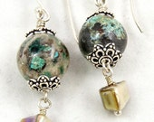Green Earrings, Chrysoprase and Shell Dangle Earrings, Handmade Gemstone Jewelry