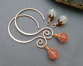 Copper Interchangeable Earrings with Cherry and Pineapple Quartz Glass 18 Gauge