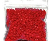 Opaque Holiday Red  11/0 Seedbeads - A Little Less Than Half An Ounce or approximately 14.175g