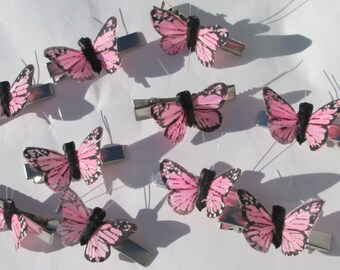 Butterfly Hair Clips small pink Monarch feather butterfly hand made hair clips by Ziporgiabella Small Butterfly