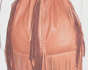 "Artisan Made Leather Fringed Purse Drawstring Bucket Bag Large Deerskin Fringe Hobo Satchel  ""SHAGGY DOG"" Handmade by Debbie Leather"