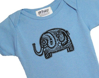 Blue elephant baby onesie American Apparel cotton onepiece bodysuit