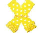 Girls Halloween Dress Up Accessory Yellow n White Polka Dot Ruffle Legwarmers. Baby Leg Warmers / Girls Baby Legwarmers Knit Socks Leggings