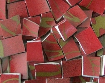 Mosaic Tiles--Merlot--Patina Gold-- 70 Tiles
