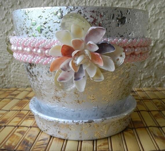 silver plant pot planter 6 inch pot seashell embellished. Black Bedroom Furniture Sets. Home Design Ideas