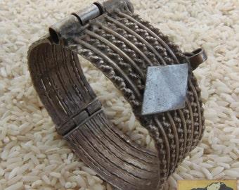 Vintage Turkman Cuff- Silver Hinged Tribal Bracelet, Item JE14