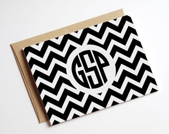 Instant Digital Download Printable DIY Black and White Monogram Chevron Folded Notecards