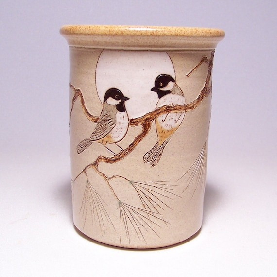 Black Capped Chickadees and Pine Pottery Utensil Holder and Vase Limited Series 70 (narrow)