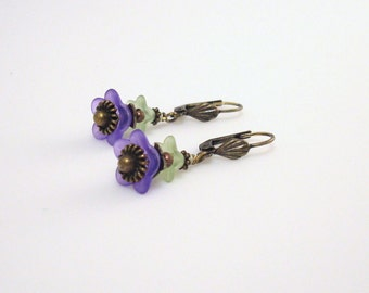 "Purple and green Lucite flower bronze and brass dangle earrings - 1-1/2"" long"