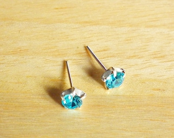 5mm Blue CZ Stud Earrings, Cartilage earrings, 925 Sterling Silver Post, Tragus Helix Nose Cartilage Piercing Birthstone second hole earring