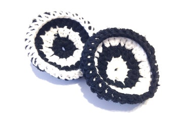 Black And White Crocheted Cotton And Nylon Netting Dish Scrubbies-Pair