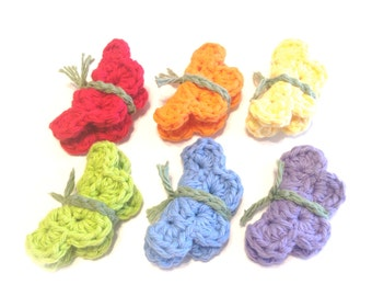 Itty Bitty Rainbow Crocheted Butterfly Make-Up Removers-Set Of Six