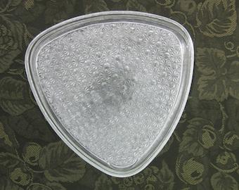Vintage Pressed Glass Luncheon Plates - Three Triangular