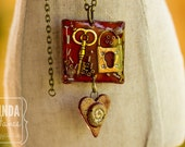 Resin Metal Pendant with Ceramic Heart Charm Reds Necklace Mixed Media Collage Art