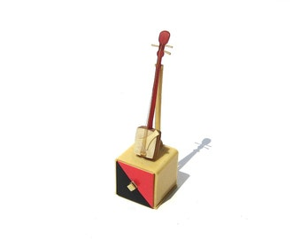Art Deco Celluloid Box Red & Black Miniature Shamisen Tiny Antique Box Japanese Instrument