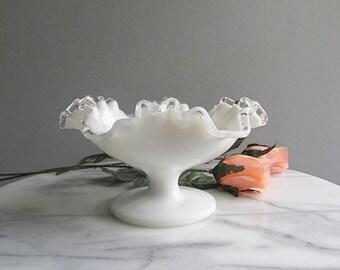 Vintage Milk Glass Dish Silver Crest Pedestal Dish Fenton