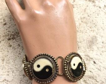 Vintage Yin Yang Statement Bracelet, Hippie, Boho, 1970's, Resin inlay, Statement Jewelry, Yin Yang jewelry, Hippie Jewelry, Hippie Bracelet