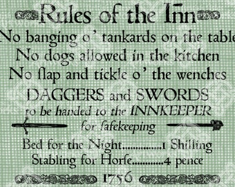 Digital Download Rules of the Inn Sign, 18th Century English style Innkeeper signage digi stamp, digital collage sheet, Digital Transfer