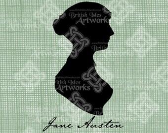Digital Download Jane Austen Silhouette, Jane's Signature, Antique Illustration, Vintage drawing, digi stamp