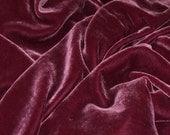 Silk VELVET fabric 28 percent silk 72 percent rayon - stunning VICTORIAN MAUVE  - fiber arts, art to wear, collage, crazy quilt doll clothes