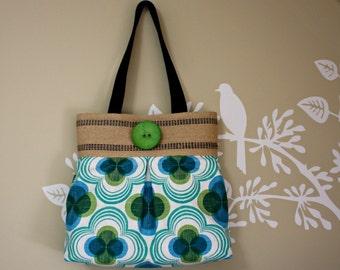 SALE Retro Flower Canvas Emerald Handbag / Jute Webbing