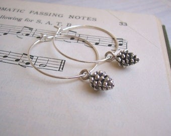 Silver Pine Cones hoop earrings - silver plated charms - nickel free -  tiny pinecones - woodland jewellery
