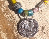 Rooster Necklace Eco friendly recycled Fine Silver vintage African trade beads